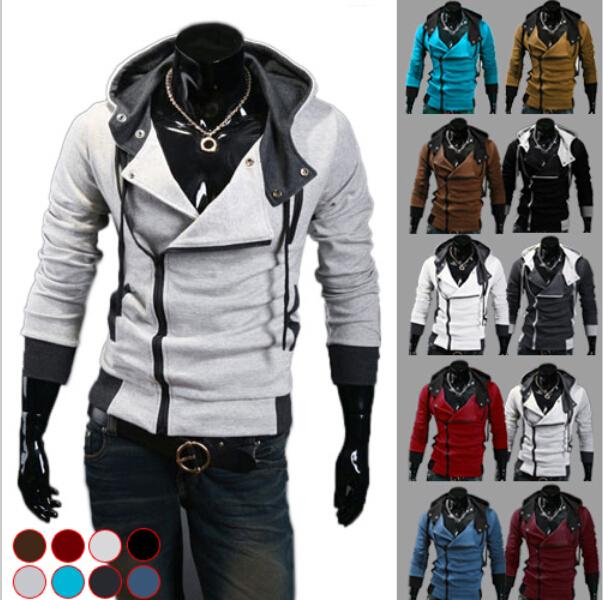 2015 Autumn & Winter Fashion Casual Slim Cardigan Assassin Creed Hoodies Sweatshirt Outerwear Jackets dust coat Men size 6XL(China (Mainland))