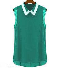 Blusas Femininas 2015 Spring Summer Brand Casual Chiffon Blouse Turn-down Collar Fashion Sleeveless Women Blouses shirts T001(China (Mainland))