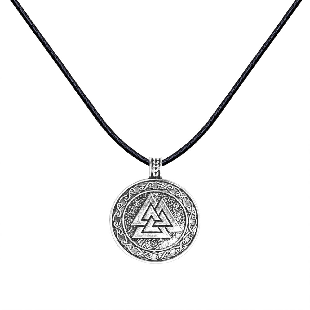 Antique Silver Charm Valknut Scandinavian Norse Viking Jewelry Triange Slavic Pendant Rope Necklace Christmas Gift for Men Women