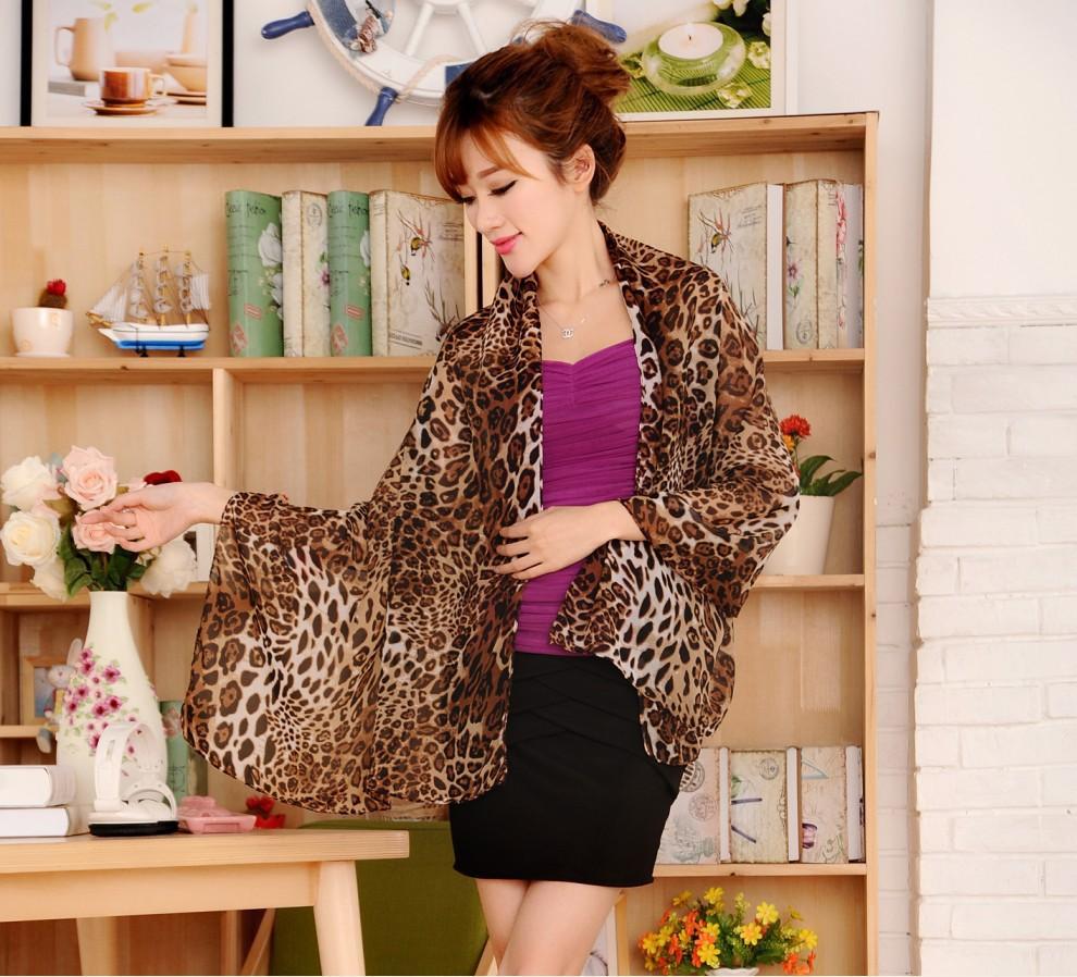 Tiger leopard print chiffon silk scarves oversized scarves summer sun beach towel XF22(China (Mainland))