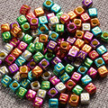 Good Quality 100 piece Lot Handmade DIY Cube Letter Bead Metallic Colors Acrylic Beads for Jewelry