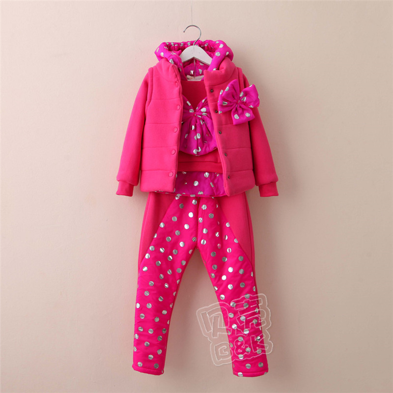 2015 winter Korean version new styles girls polka dot bow long sleeve pullover long pants and hooded vest sets   TZ-2071<br><br>Aliexpress