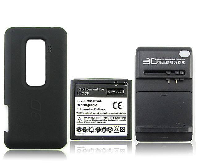 New Extended 3500mah Rechargeable Battery + Back Case +Wall Charger For HTC EVO 3D Free Shipping
