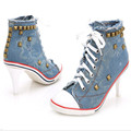 2016 new arrive women Denim canvas high heeled shoes lace up fashion Rivets high heels free