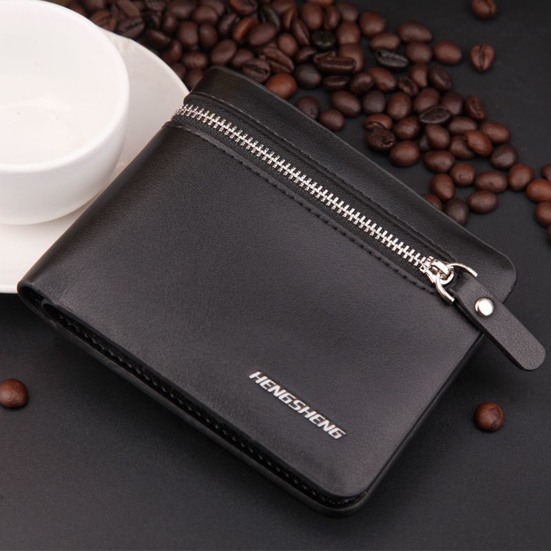 2015 New High quality Leather men Wallet zipper purse men Wholesale leather men s Wallets Free