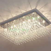 New Modern K9 Crystal Ceiling Light rectangular ceiling lighting foyer room lighting multi lights crystal ceiling lamp bedroom(China (Mainland))