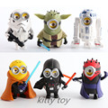 6PCS LOT New Childrens Cartoon Anime Minions Cosplay Star Wars Action Figures Toy Boys Despicable Me