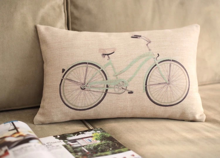 Handmade 100% cotton linen Vintage bike 30cm*50cm pillow pillows sofa cushion for leaning on of cartoon pillow