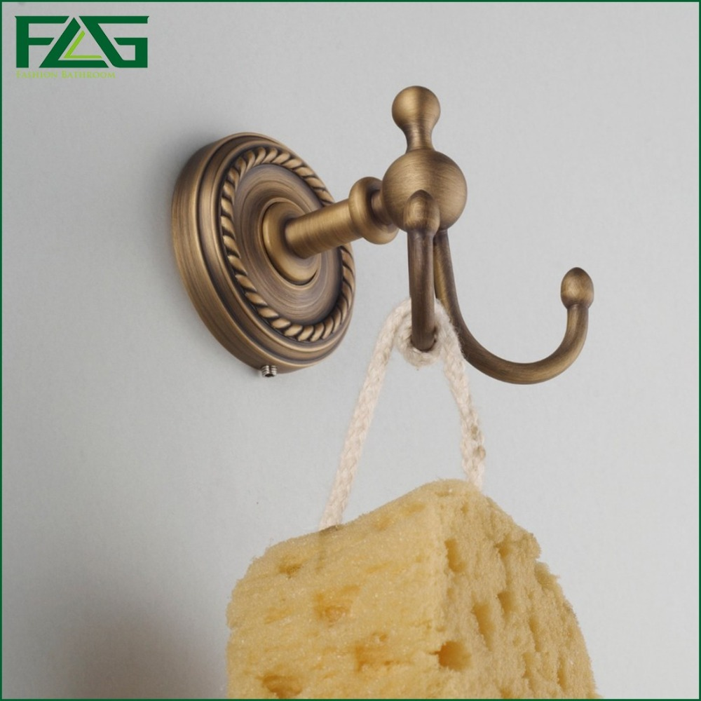 FLG New Design Customized Drawing Double Coat Robe Antique Bronze Brass Wall Mounted Hook For Clothes Bathroom Accessories G707(China (Mainland))
