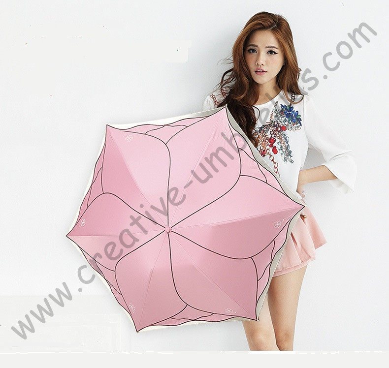 Ladies' summer lotus leaf rose flower UPF>50+ folding mini umbrella 5 times colour coating Anti-UV women embroidery parasol(China (Mainland))