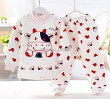 70%OFF Free Shipping 2014 thicken Cotton-padded clothes Baby Unisex Sleepwear Toddler Long Sleeve Pajama Children clothing sets(China (Mainland))
