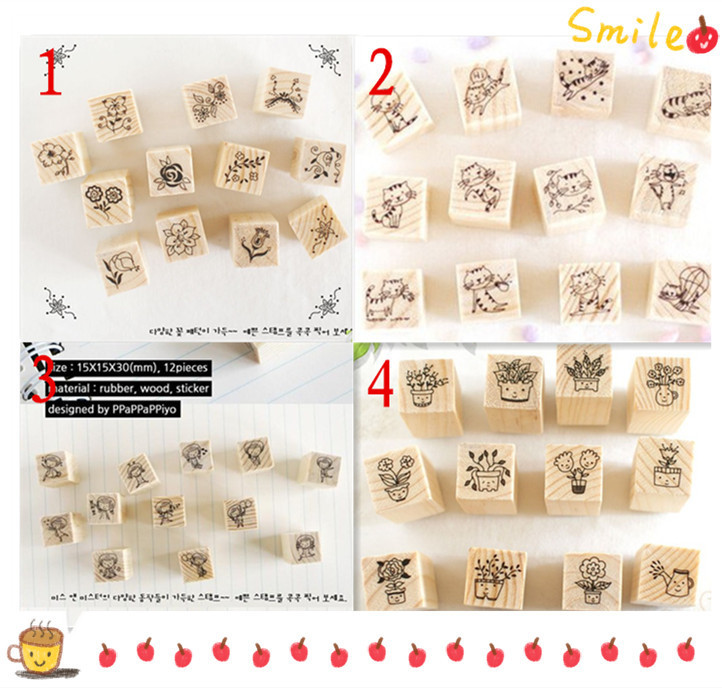 12 pcs/lot DIY Cute Cartoon Cats Flowers Girls Bonsai Wood Stamps for Kids Decor Diary Scrapbooking Gift Free shipping 1004(China (Mainland))