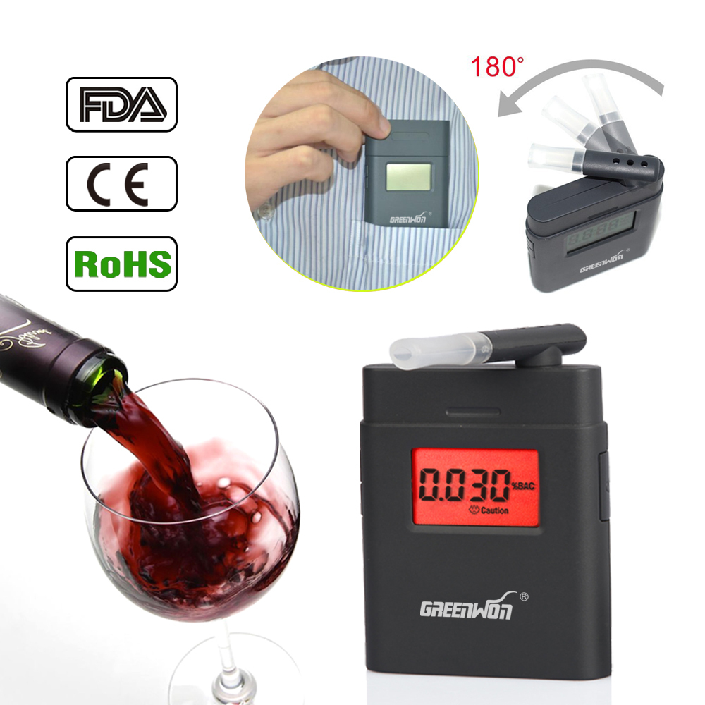 2015 Prefessional Police Portable Breath Alcohol Analyzer Digital Breathalyzer Tester Body Alcoholicity Meter Alcohol Detection(China (Mainland))