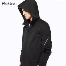Markless Casual Men's New Hydrophobic Nano Jacket Men Hard-wearing Coats With Hooded Brief Black Jackets(China (Mainland))
