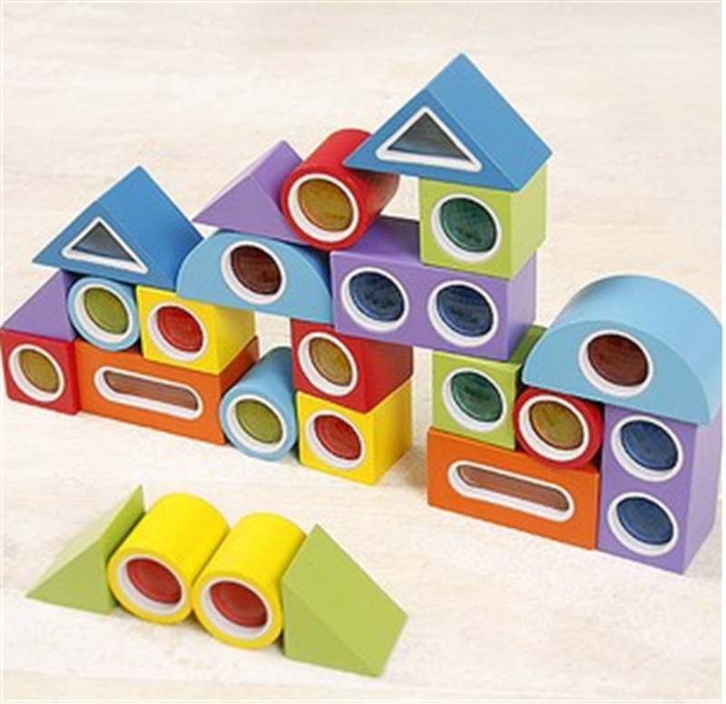 New Wooden Blocks Toy Kaleidoscope Rainbow Blocks Baby Educational Toy Baby Gift Tot Free Shipping(China (Mainland))