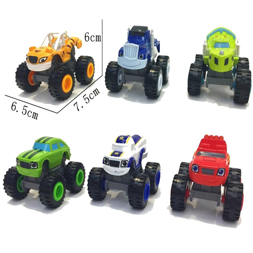 Hot Sale 6pcs/set Blaze Monster Machines Toys Vehicle Car Pickle Zeg Darrington Crusher Stripes Original Box Best Gifts For Kids(China (Mainland))