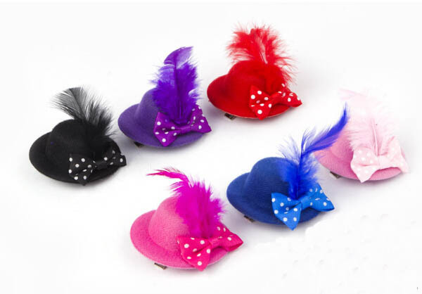 24pcs/lot Pet grooming dogs cats apparel doggy fashion Headwear Dog Cat Bowknot feather Hairpin headress puppy Hair Clip hat(China (Mainland))