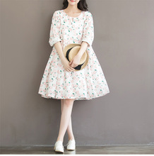 2016 New spring and summer maternity dresses cotton print long dresses pregnant women's plus size dresse 16067