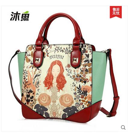 2015 Original new spring fashion female sweet lady character printing colours handbag shoulder bags(China (Mainland))