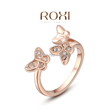 ROXI for the Han Feng jewelry hand decorated professional wholesale Austria crystal rose gold three Butterfly Ring