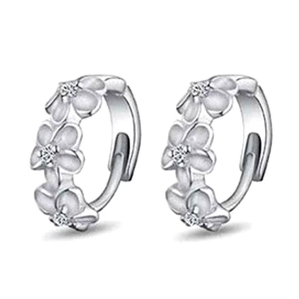 Гаджет  1pairs Fashion 925 Sterling Silver Crystal Flower Earrings Hoop Huggie free shiping None Ювелирные изделия и часы