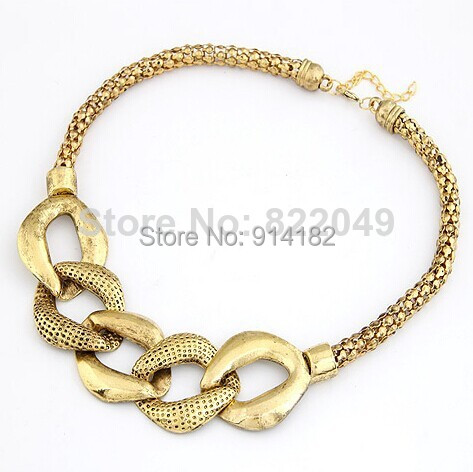 (Min.Order $ 10) ZS Fashion jewelry luxury Vintage Retro Shiny Gold Thick Chain Geometric Necklace - Angel Tears Jewelry store