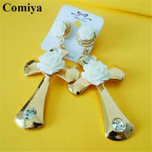 Whhite flowers cross crystal accessories charming big brand drop earrings gold plated pendant bijuterias wedding oreja brincos(China (Mainland))