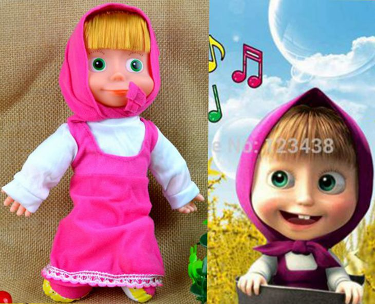 Pelucia Plush Cartoon Russian Music Pink Masha and Bear Orso Doll Action Figure Toy Gift for Girl 28cm(China (Mainland))