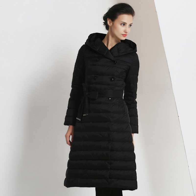 Womens Long Black Winter Coat - JacketIn