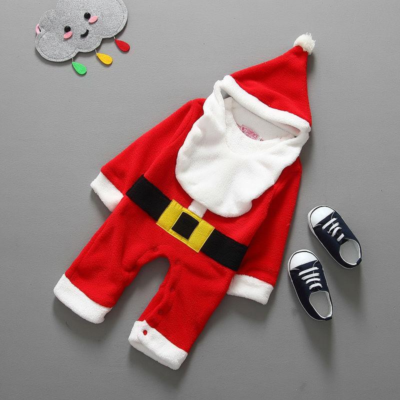 Christmas Baby Rompers Costume 3pcs Boys Girls Baby Clothing Santa Rompers+Cute Tat+Fake Beard Jumpsuits(China (Mainland))