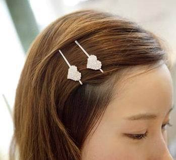 New Arrival Korea Rhinestone Hairpin Crystal Love Heart & Crown Hair Clip For Girl 1PC/price SKF002(China (Mainland))
