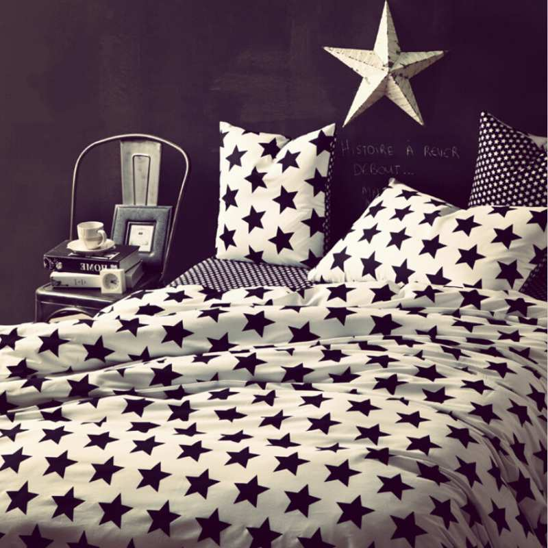 Black and White Stars bedding set cotton 4pcs Plaid/Striped/Leopard Print comforter/duvet cover bedclothes bed sheet pillowcases(China (Mainland))