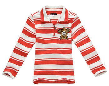 Wholesale 5 pcs Spring Autumn  red yellow Children boy Kids baby long sleeve striped cotton polo t shirt children top PDQZ01P11