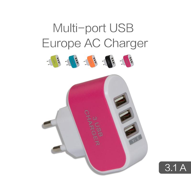 Universal 5V 3 Ports USB Wall Charger EU plug for iPhone iPad Samsung HTC etc Mobile