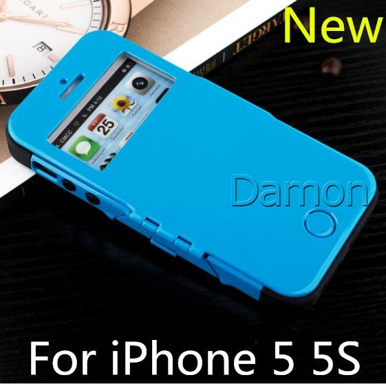 Hot Sale New Slim Armor View Phone Cases For iPhone 5 5S Cell Phones Bag Flip Cover Cases For Apple iPhone5 5S Wholesale(China (Mainland))
