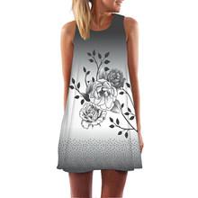 Платье с принтом «Фламинго» женское платье Femme с цветочным принтом женское летнее мини-платье без рукавов сексуальное Vestidos De Festa Повседневн...(China)