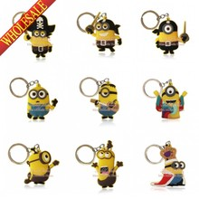 New keychain cartoon Despicable Me 2 keychain car pendant small yellow people Despicable Me 2 Minion key chain doll gift(China (Mainland))