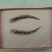 invisible swiss lace relastic hand made human hair false eyebrow black #1B color natural black man made eyebrow