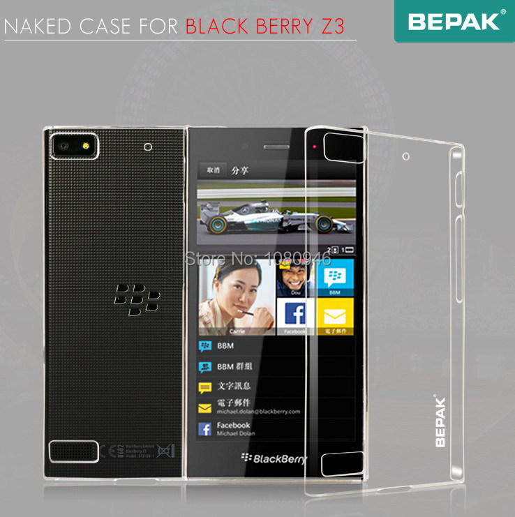For BlackBerry Z3 BEPAK NAKED Case Series Transparent Back Cover Protective Case For Black Berry Z3 + Screen Film Free Shipping(China (Mainland))