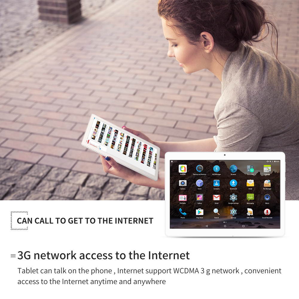 Yuntab K17 10.1″ 3g Tablet Quad-Core Android5.1 touch screen unlocked smartphone with dual camera Built in 2 Sim Card Slots