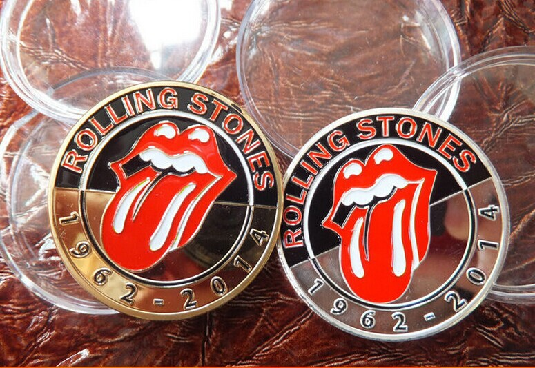 unbeatable price mix 10pcs/lot The Rolling Stones Colorized Printed metal commemorative gold/silver Coin+rock band beatle coin(China (Mainland))