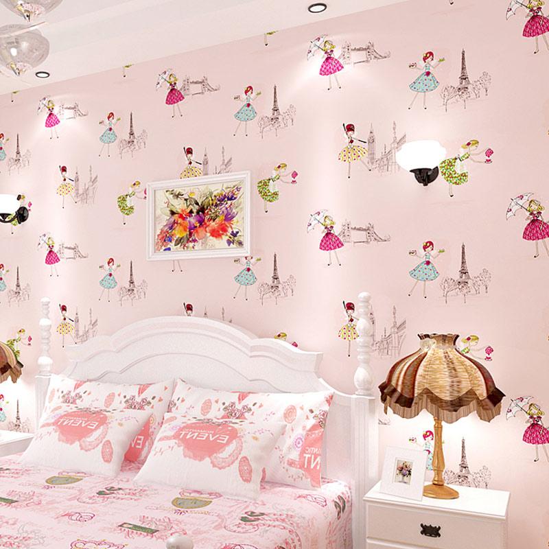 3d texture printed paris tower girls ballet cartoon wall for 3d wallpaper texture for bedroom