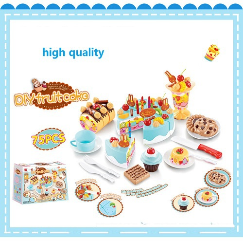 75pcs Plastic Kitchen Toys Set Play kids Child Pretend Education Learning Simulated Birthday Cake Color Box Children's Gifts(China (Mainland))