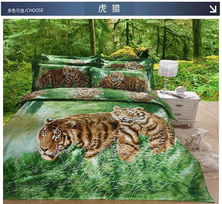 Animal 3d bedding sets two tigers hunting in green forest reactive printing round corner bed sheet 100% cotton promotion 2656(China (Mainland))