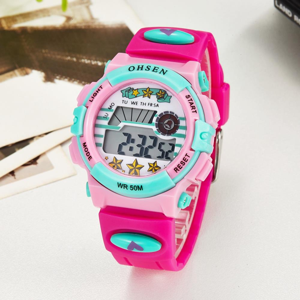 TOP sale 2016 OHSEN brand digital quartz Wrist watch kids girls 30M waterproof pink silicone strap LCD back light alarm clock(China (Mainland))