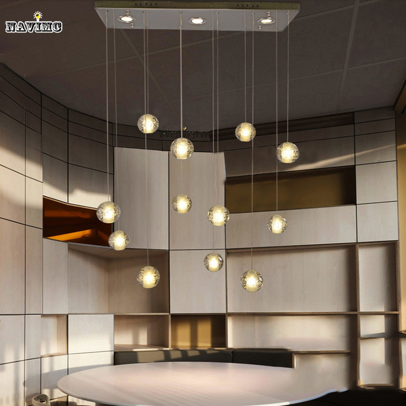 Modern LED Crystal Pendant Lights Fixtures Magic Crystal Ball lustre loft stairwell 12 Crystal Light Meteor Shower Crystal Lamp<br>