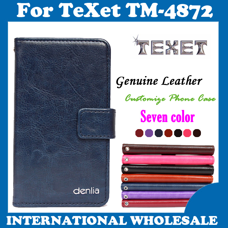 In Stock!Clamshell Phone Holster Genuine Leather Case For TeXet X-medium plus TM-4872 Magnetic Button Protective Cover(China (Mainland))