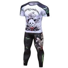 Nova marca de compressão ternos do esporte dos homens secagem rápida 3d impresso mma conjuntos roupas esportes ginásios fitness treino rashguard 2p(China)