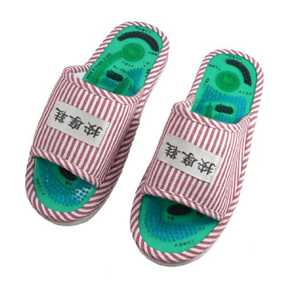 USA Delivery New Ladies' Striped Health Care Foot Acupoint Massage Flat Slippers in Pair(China (Mainland))