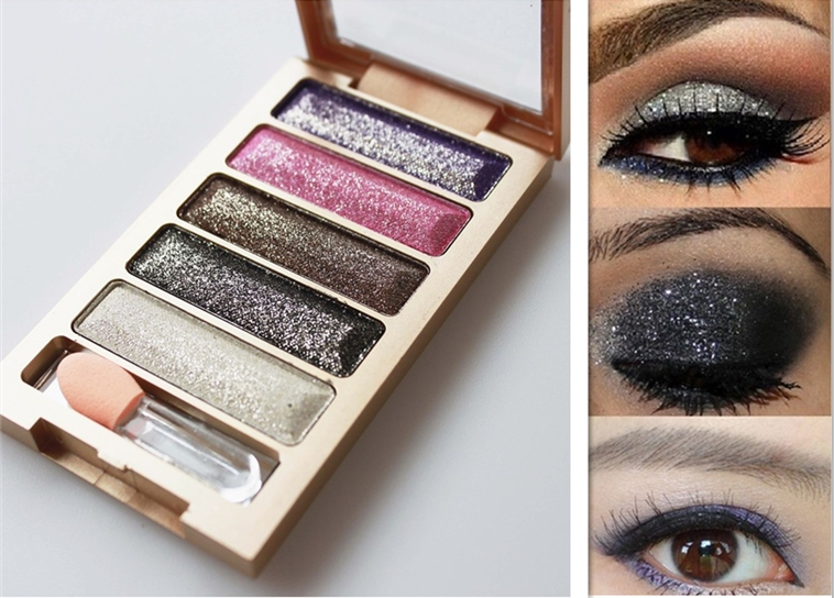 2015 new brand 5 Color Glitter Eyeshadow Makeup Eye Shadow Palette,Super Flash Diamond Eyeshadow High Quality With Brush(China (Mainland))